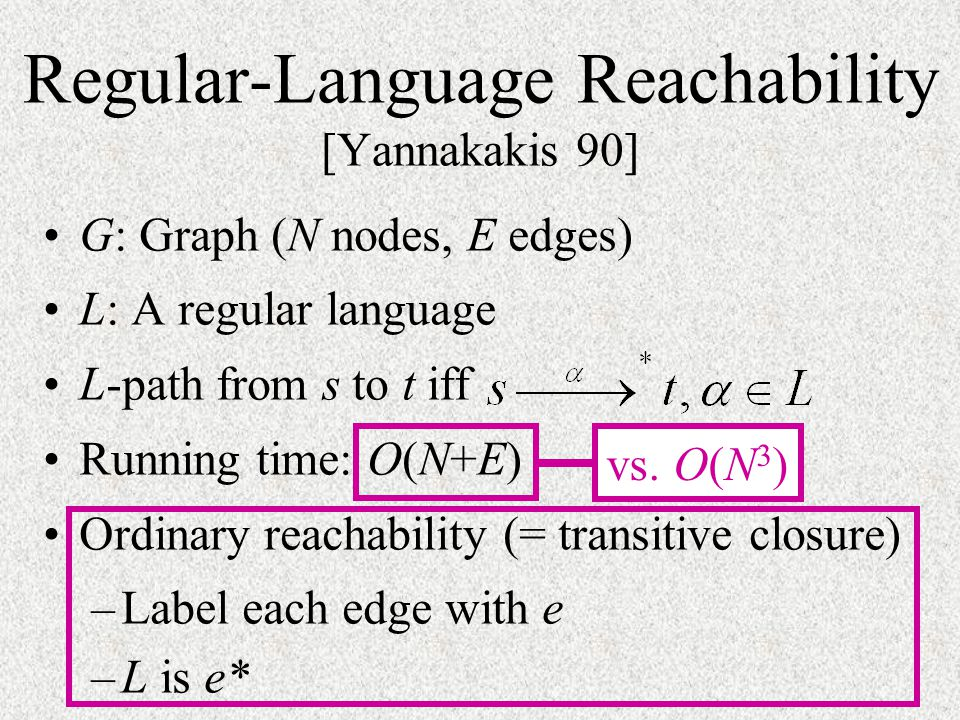 Regular-Language Reachability [Yannakakis 90]